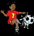 Illustration of a girl kicking a soccer ball