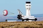Space shuttle diverted, lands at Edwards