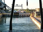 Locks on the Welland Canal.  This canal bypasses Niagara Falls and facilitates shipping transportation between Lake Erie and Lake Ontario.