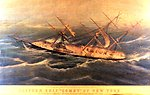 'The Clipper Ship 'Comet' of New York' laboring in heavy hurricane seas off Bermuda in October 1852.  This is from a Currier and Ives print pasted on a wood backing.  The original print was completed in 1855.