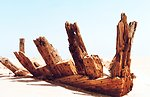 The ribs of a once mighty ship bare on the 'Graveyard of the Atlantic.'