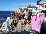 Aloha from the Pacific Island's Fisheries Science Center Marine Debris Program! Twenty four metric tons of abandoned lines and ghost nets were collected from the waters of Laysan Island, Kure Atoll and Pearl and Hermes Atoll in he Papahanaumokuakea Mari