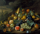 A Still Life of Pears, Peaches and Grapes) by Charles Collins.jpg