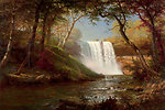 'Minnehaha Falls' — by Albert Bierstadt; oil on canvas painting; 19th century.  Painting of the Minnehaha Falls, located in Hennepin County, Minnesota.