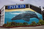 A humpback whale mural of mother and calf at Pier 39, near Fisherman's Wharf.