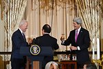 Vice President Biden, French President Hollande, and Secretary Kerry Toast the U.S.-France Relationship