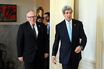 Secretary Kerry Escorts Dutch Foreign Minister Timmermans in The Hague