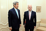 Secretary Kerry, British Foreign Secretary Hague Pose for Photograhers Before Meeting in the Netherlands