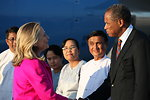 Secretary Clinton Is Greeted By Charge d'Affaires Thurston