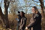 Refuge staff viewing Trustom Pond (RI)