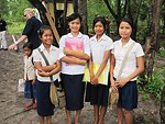 Cambodian Students Smile for a Photo