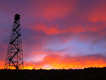 fire tower at sunset