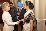 Secretary Clinton Shakes Hands With Indian Ambassador to the U.S. Shankar