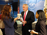 Assistant Secretary Frantz Speaks With a Reporter at Social Media Week NYC