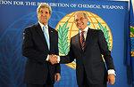 Secretary Kerry Shakes Hands With OPCW Director-General Uzumcu