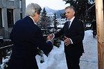 Swiss President Burkhalter Greets Secretary Kerry in Davos