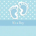 Baby boy footprints card