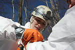 NCWRC biologist Cordie Diggins taping glove