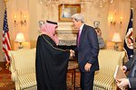 Secretary Kerry Shakes Hands With Saudi Interior Foreign Minister Mohammed bin Nayef