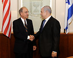 Israeli Prime Minister Netanyahu and Special Envoy Mitchell Shake Hands