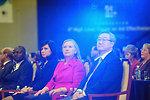 Secretary Clinton Listens to a Speaker