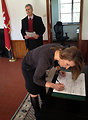 Deputy Secretary Higginbottom Signs the Guestbook at the North Africa American Cemetery in Tunis