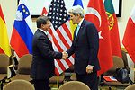 Secretary Kerry Greets Turkish Foreign Minister Davutoglu For Meeting in Brussels