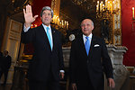 Secretary Kerry, French Foreign Minister Fabius Pose for Photographers Before Meeting in Paris