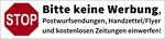 Postbox label 'No advertisements' (german)