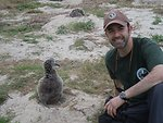 photographer Noah Kahn with albatross chick