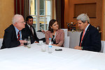 Secretary Kerry Chats With Representatives Sensenbrenner and Sanchez at Munich Security Conference