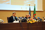 Secretary Kerry Answers Question During Joint News Conference in Algiers