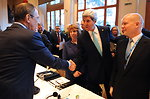Secretary Kerry Shakes Hands Wtih Russian Foreign Minister Lavrov Before Start of Geneva II Conference