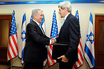 Secretary Kerry is Greeted by Israeli Prime Minister Netanyahu Upon Arrival For Peace Talks