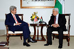 Secretary Kerry Meets With Palestinian Authority President Abbas in the West Bank