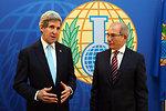 Secretary Kerry Speaks With Reporters Beside OPCW Director-General Uzumcu