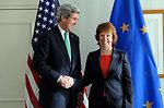 Secretary Kerry Shakes Hands With EU High Representative Ashton Before Meeting in Munich