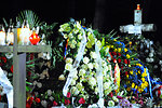 Flowers Cover the Gravesite of Former Polish Prime Minister Mazowiecki