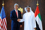 Secretary Kerry is Greeted by UAE Minister of Foreign Affairs Al Nayhan