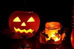 Jack-o-lantern and lights