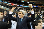 Secretary Kerry Celebrates as Yale Scores First Goal in Game Against Harvard