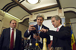 Moldovan Prime Minister Leanca Points Out the Label of a Moldovan Wine