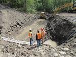 Eska Creek culvert under construction