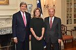 Secretary Kerry, Ambassador Kennedy, and Ambassador Sasae Pose for a Photo