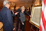 Secretaries Kerry and Hagel Show Australian Ministers Bishop and Johnston a Copy of the Declaration of Independence