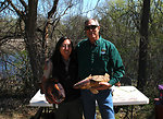 Regional Director Tom Melius and MN DNR Krista Jensen show off the Fish Identification Tools