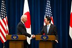 Vice President Biden Shakes Hands With Japanese Prime Minister Abe