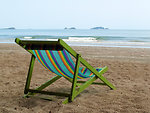 Deckchair on an empty beach