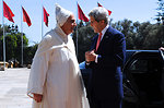 Secretary Kerry is Greeted by Moroccan Foreign Minister Mezouar at the Royal Palace in Casablanca