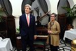 Secretary Kerry Examines Dining Room at Rick's American Cafe in Casablanca